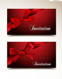 Vector material of invitation card with bow pattern