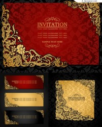 Vector material of invitation card with golden flower pattern