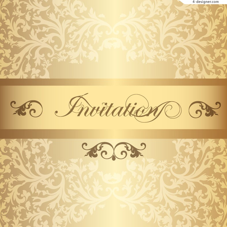 4 Designer Vector Material Of Invitation Card With Golden