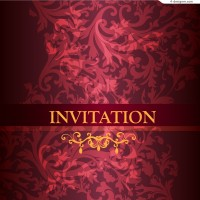 Vector material of invitation card with gorgeous red flower pattern