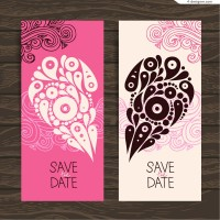 Vector material of love invitation card with flower pattern