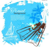 Vector material of painted summer vacation poster