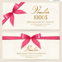 Vector material of pink ribbon bow voucher