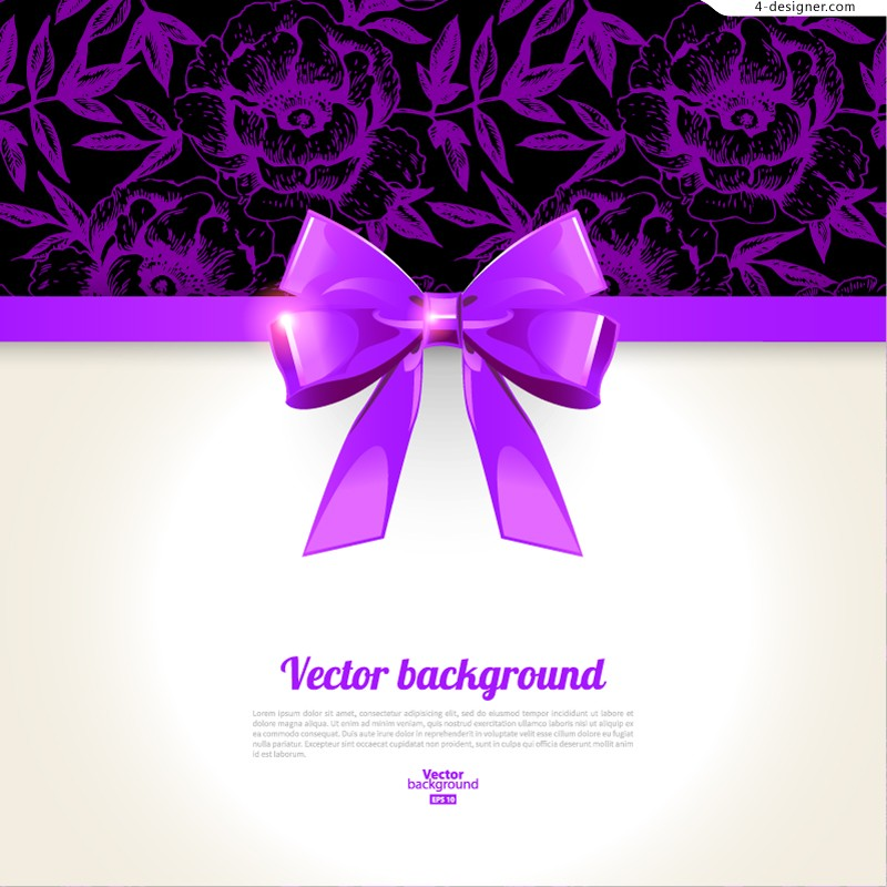 Vector material of purple bow card