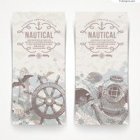 Vector material of retro nautical vertical banner