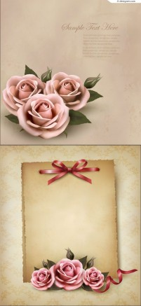 Vector material of rose decorative notes