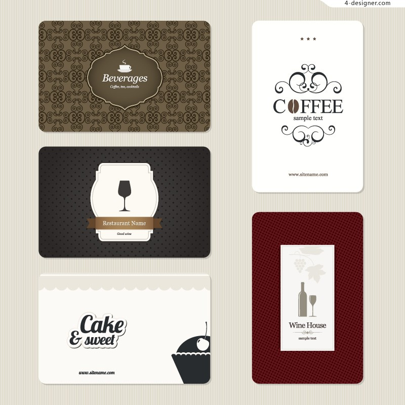 Vector material of simple food card