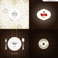 Vector material of simple menu cover
