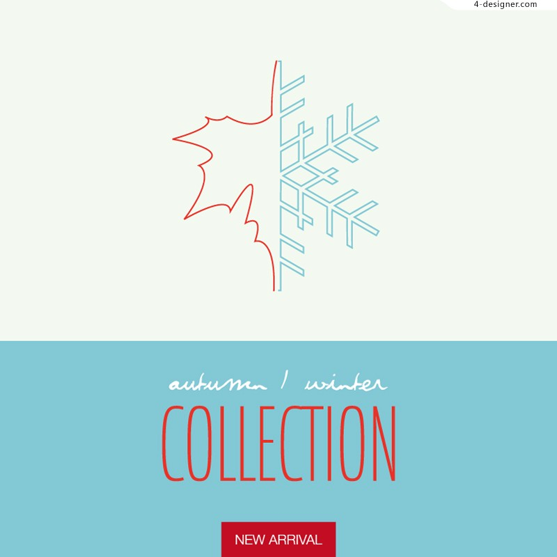 Vector material of simple winter sales poster