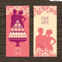 Vector material of wedding invitation card