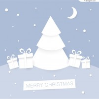 White paper cutting Christmas tree illustrator vector material