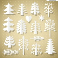 White paper cutting Christmas tree vector material