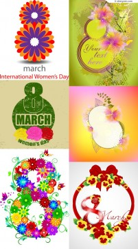 Women s Day poster decorated with flowers vector material