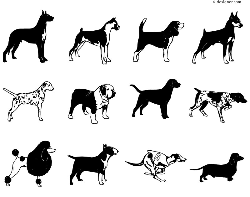 12 shorthaired dog design vector materials