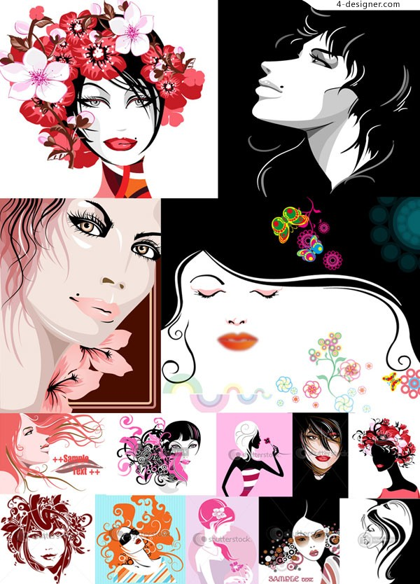 14 Woman avatar vector materials