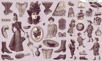 19th Century European characters and costumes vector material