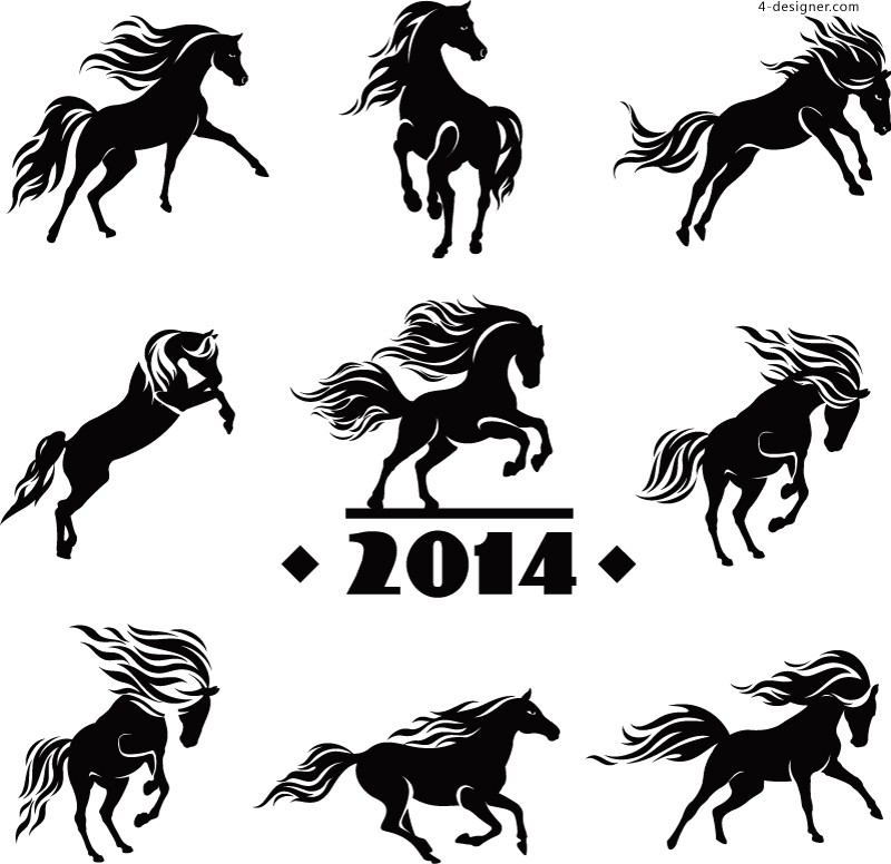 2014 Horse silhouette vector material