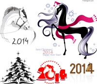 2014 Year of the Horse creative illustrator vector material