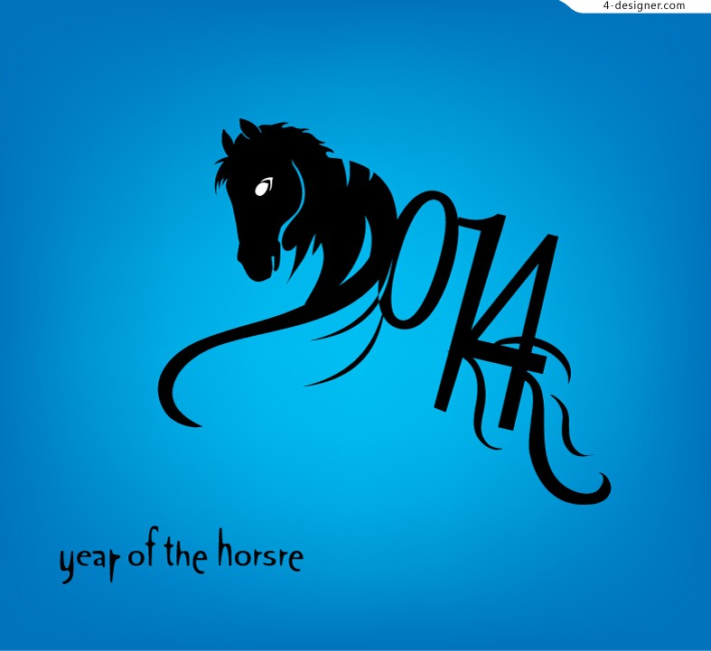 2014 Year of the Horse poster vector material