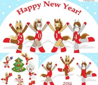 2014 cartoon horse cheerleading illustrator vector material