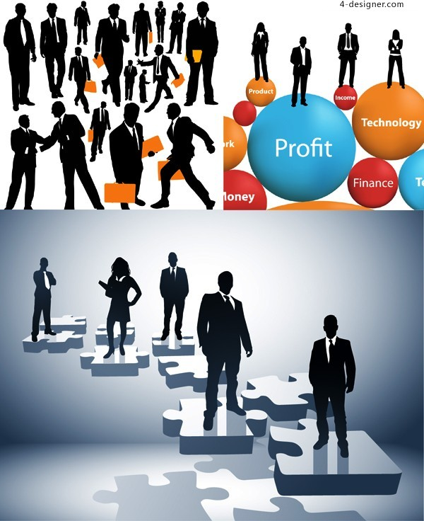 3 Practical Business figures silhouette vector materials