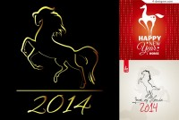 3 Year Year of the Horse poster vector materials