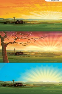 3 beautiful outskirts scenery vector material