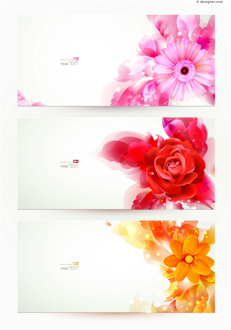 3 exquisite flowers banner vector materials