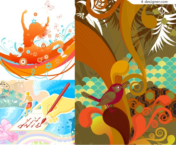 3 sport theme fashionable illustrator vector materials