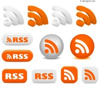 3D RSS subscription icon vector material