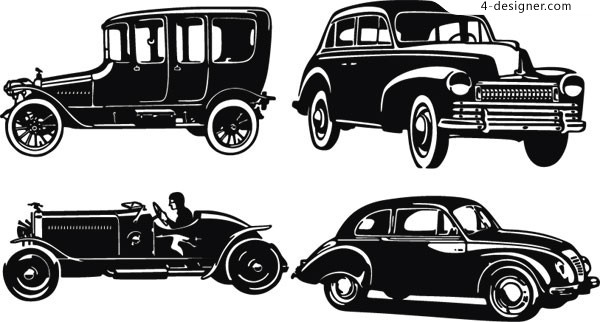 4 retro style vintage classic cars vector material