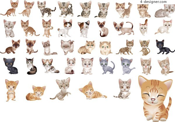 40 ultra cute little cat vector material