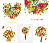 5 beautiful colorful flowers illustrator vector materials