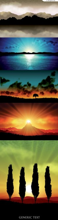 5 landscapes vector material