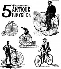 5 models of antique bicycle vector material