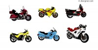 6 cool motorcycle model vector material