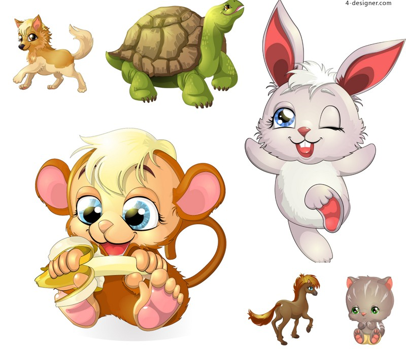 6 cute cartoon animals vector materials