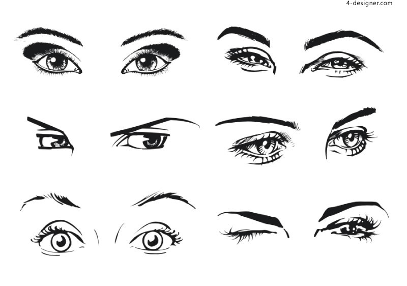 6 kinds of female eyes vector materials