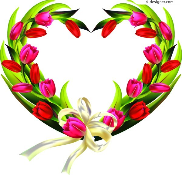 A beautiful heart shaped wreath of tulips vector material