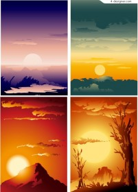 A beautiful sunset scenery vector material