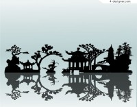 A classical Chinese courtyard style silhouette vector material