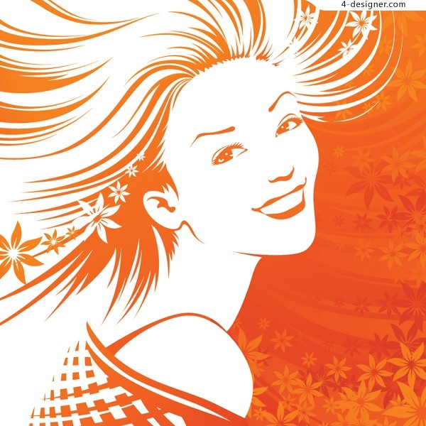 A fantastic line drawing beauty vector material