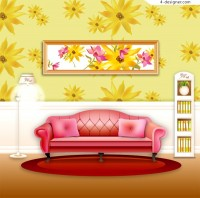 A fashion and warm home design vector material
