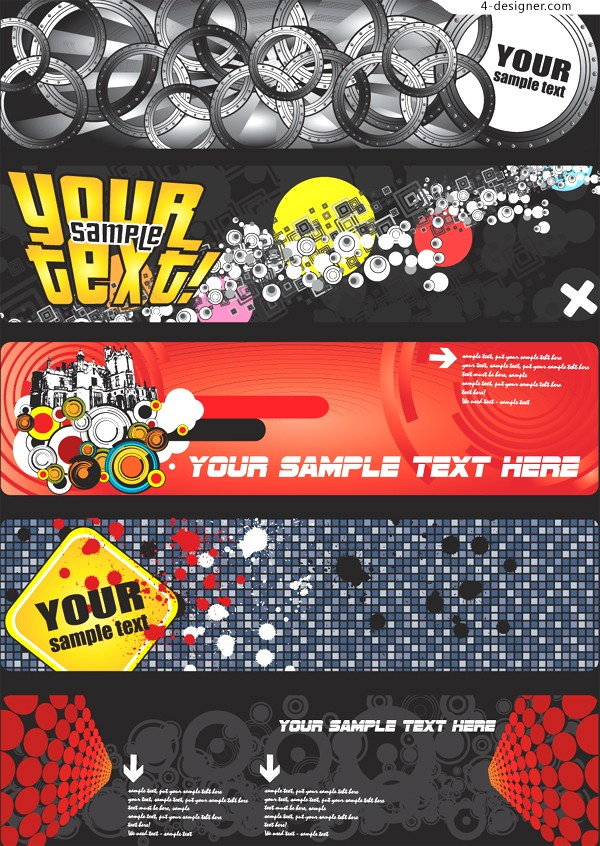 A group of fashionable banner background vector materials