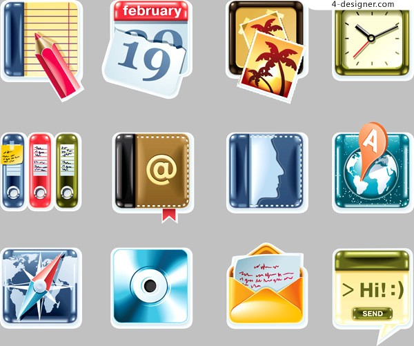 A group of fine office supplies icon vector materials