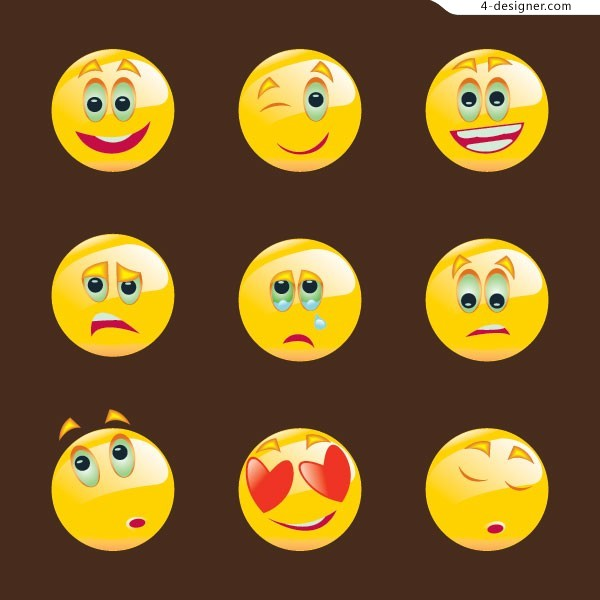 A group of lovely round face icon vector materials