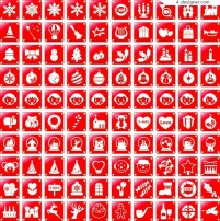 A set of beautiful red Christmas icon vector material