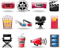 A set of practical movie theme icon vector material