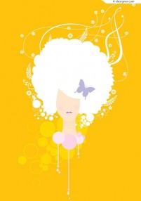A stylish hairstyle silhouette vector material