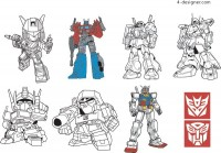 A variety of Transformers robot vector materials